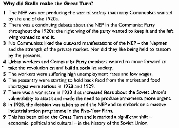 """why did stalin make the great turn ? essay Why did stalin make the """"great turn"""" essay sample many communists saw the nep as a retreat from communist ideology it was seen as a promotion of private ownership, trade and profit, as well as being responsible for the rise in new """"petty bourgeoisie"""" classes such as nep men and kulaks."""